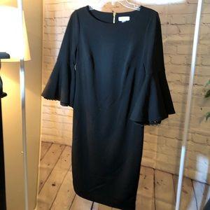 Calvin Klein black bell sleeve dress 8